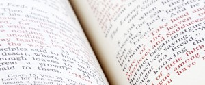 close up shot of open bible